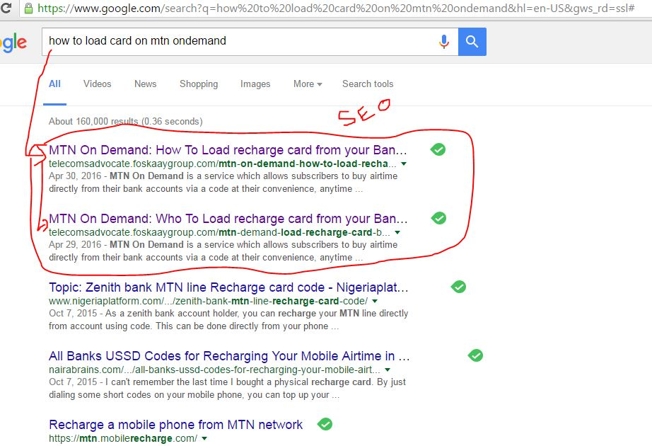 TelecomsAdvocate seo rank 1 on google for keyword mtn on demand